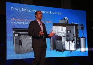Sumeer Chandra, Managing Director for HP India introducing HP Multi Jet Fusion Solution at launch event in Delhi