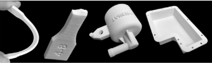 ROLASERIT® PBT01 3D printed parts such as specimen for mechanical characterization, automotive braking fluid pump and electronic control unit case/Image Credit: Mitsubishi Chemical Corporation