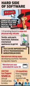 India for customs duty on computer-aided design files for 3-D printing. Source: The Economic Times