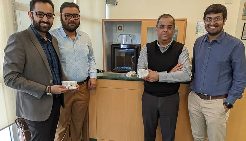 The Anatomiz3D team, along with Dr. Bharat Aggarwal (2nd from the right), at the launch of the 3D Printing lab, Photo credit: Anatomiz3D