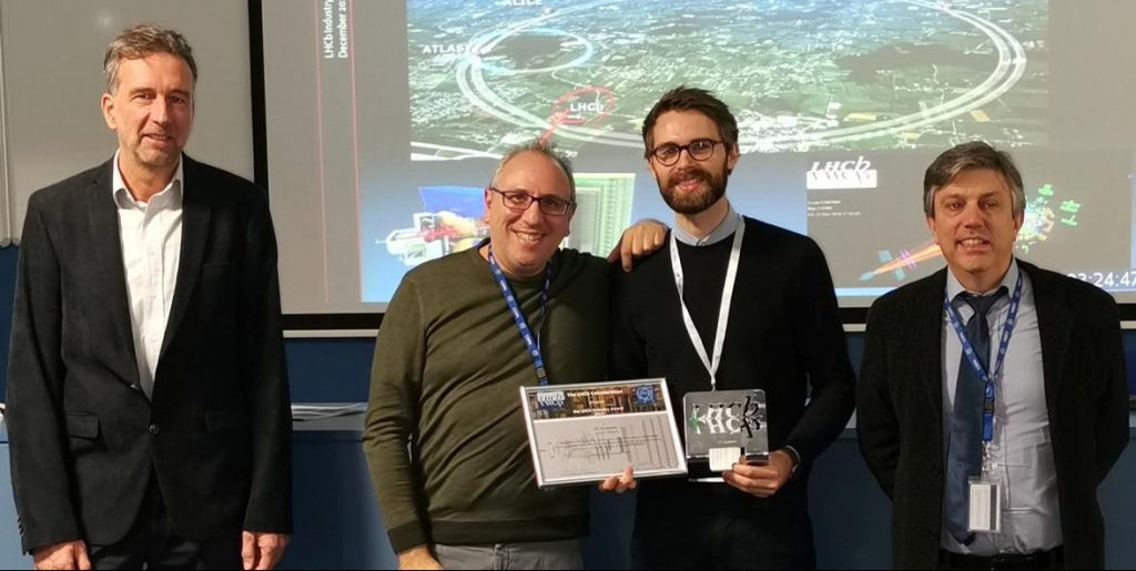 Antonio Pellegrino and Thomas Verelst were presented with the LHCb Industry Award for their work on the project.. Image - CERN
